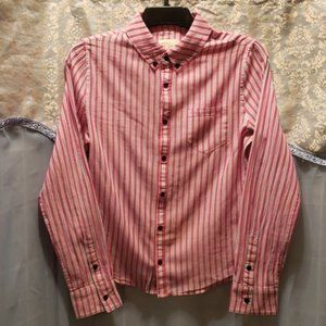 MEN'S THE SHIRT RED/WHITE/GREY STRIPED SHIRT SZ S